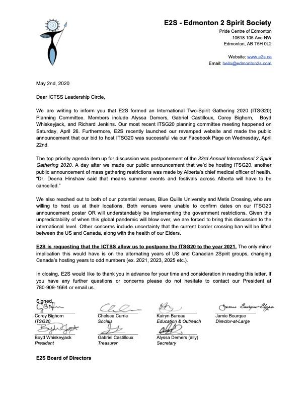 ICTSS - E2S request to postpone ITSG20